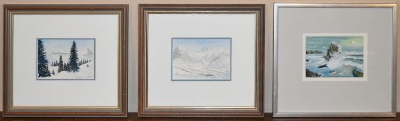 A pair of watercolours, alpine scenes, signed and an acrylic on paper, seagulls around a rocky