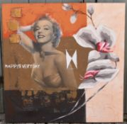 Mixed media on unframed canvas, Marilyn Monroe abstract composition. H.100 W.100cm