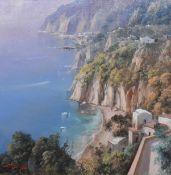 A gilt framed oil on canvas, Continental school Mediterranean coastal scene, indistinctly signed.
