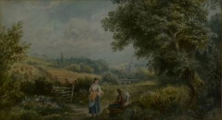 After Miles Birkett Foster, a watercolour, bucolic country scene with seated figures and village