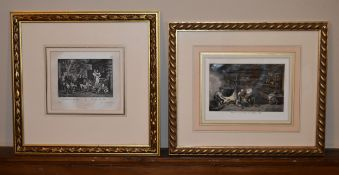 A framed and glazed 19th century hand coloured print along with a 19th century print, Heimkehr von