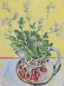 A framed oil on canvas, modernist style still life flowers in a large painted jug, monogrammed EB