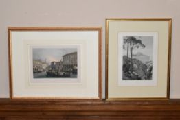 A 19th century framed and glazed aquatint, Venice along with a 19th century print of Capri. H.38 W.