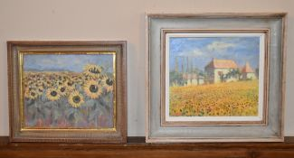 Virginia Ridley, a framed oil on board, a field of sunflowers and another by the same artist,
