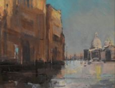Christopher Daynes, an oil on board, The Salute, Venice, signed with gallery label to the reverse.