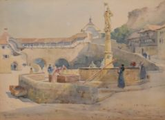Ernest George (1839-1922), a watercolour, village scene, Fribourg, signed H.45 W.57cm.