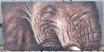 A large unframed oil on stretched canvas, elephant portrait. H.70 W.140cm