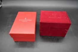 A boxed Waterford crystal Christmas tree and a boxed Christmas tree decoration. H.9 W.24 D.14cm (