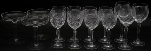 A collection of fourteen glasses. Including a set of four cut crystal wine glasses, three