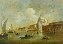 A large 19th century gilt framed oil on canvas, gondolas in Venice with St. Marks in the background,