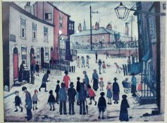 A framed and glazed print of the oil painting 'The Procession' by L.S. Lowry. Gallery label verso.