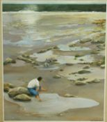 An oil on board, a man and his dog in rock pools, signed and dated Sylvia Jarrett. H.78 W.68cm