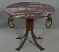 A Eastern metal framed occasional table fitted with veined marble top. H.48 D.60cm