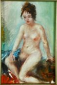 A framed oil on board, nude study, signed U Tilli and dated to the reverse. H.32 W.28cm