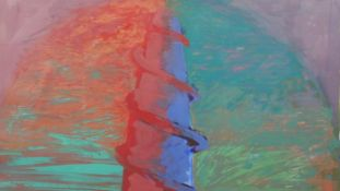 John Loker (B.1938), oil on paper, The Way Down, signed with gallery label to the reverse. H.87.5