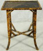 A late 19th century bamboo occasional table with Japanned lacquered top. H.72 W.56 D.41cm