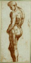 A gilt framed and glazed print, nude study. H.53 W.33cm