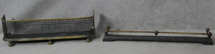 Two 19th century brass and iron fenders. H.23 W.79 D.23cm (one damaged as photographed)
