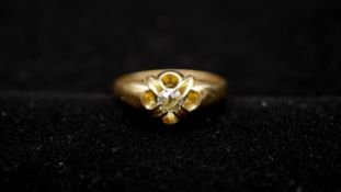 A Victorian 18 carat yellow gold and old mine diamond gypsy ring. Set with a cushion shape old