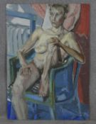 Oil on board, expressionist nude study, signed Wendy Bratby to the reverse. H.85 W.59.5cm