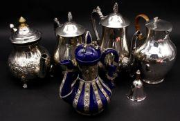 Three silver plated coffee pots, a ceramic coffee pot with plated mounts along with a silver