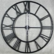 A large contemporary metal framed working clock face. H.114cm