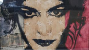 Pam Glew, A framed and glazed mixed media study on fabric of a female with stars, titled