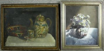 An oil on canvas, still life, unsigned, inscribed to back along with a similar still life of flowers