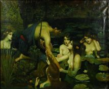 After John William Waterhouse, Hylas and the Nymphs, framed oil on canvas, unsigned. H.72 W.81cm
