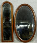 Two Edwardian bevelled glass mahogany framed dressing table mirrors. H.80cm