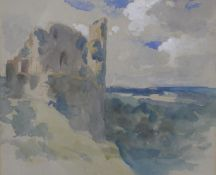 Philip Wilson Steer (1860-1942), a watercolour, Knaresborough Castle with Fine Art Society label