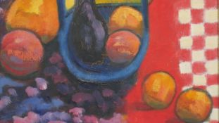 A framed oil on canvas board, still life fruit, The blue Basket, signed and dated Peter McDonald