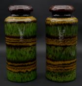 A pair of vintage West German lava glaze striped ceramic vases. Numbered to the base. H.30cm