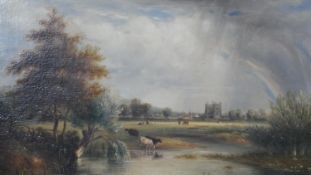 19th century English school, oil on board cattle drinking by a river, label to reverse reads,