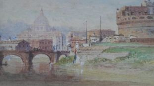 Henry Parsons Riviere (1811-1888), a view on the Tiber, Rome, signed with label to the reverse. H.