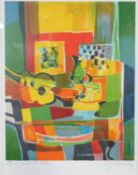 Marcel Mouly (French, contemporary), a framed and glazed signed Artists Proof abstract still life