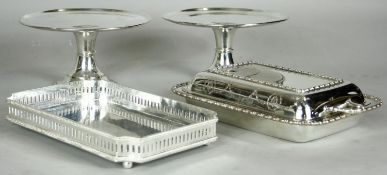 A pair of silver plated comports, an engraved silver plated lidded tureen along with a similar