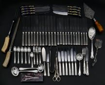 A collection of silver plated cutlery. Including a set of ceramic ceramic hand painted handled
