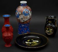 Two carved cinnabar lacquer vases decorated with floral and foliate design, two pieces of Chokin