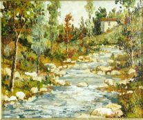 Renzo Paoletti (B.1922), oil on board, house by a mountain stream, signed and framed with artist's