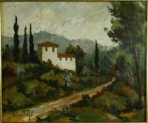Renzo Paoletti (B.1922), oil on board, Italian landscape, signed and framed with artist's name