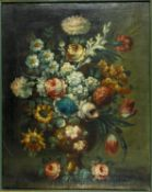 Dutch School, a 19th century oil on canvas, still life flowers in a vase, gilt framed, unsigned. H.