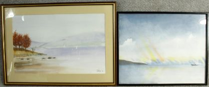 Two framed and glazed watercolours by Terry Doyle, One of the Northern Lights and one of a