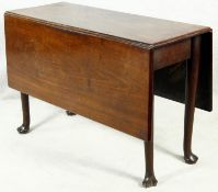 A Georgian mahogany drop flap dining table on slender pad foot cabriole supports. H.70 W.122 D.107cm