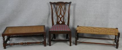 A Georgian mahogany Chippendale style side chair along with an oak long stool with caned top along