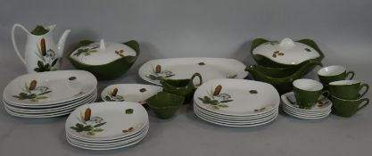 A part Mid-Winter tea dinner and coffee service in Riverside pattern, with design of bulrushes and