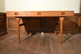 Nanna Ditzel (1923-2005), Danish teak writing table with recessed twin handles to the frieze drawers