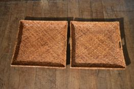 A pair of wicker twin handled trays. H.9 W.60 D.58cm