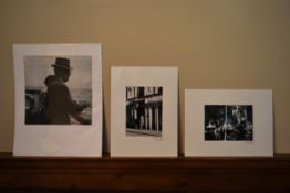 Three vintage black and white photos, one by Robert Frank, and the other two indistinctly signed and