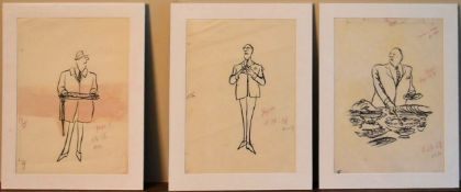 A set of three Charles Saxon cartoon illustrations for the New Yorker, inscribed and mounted. H.36